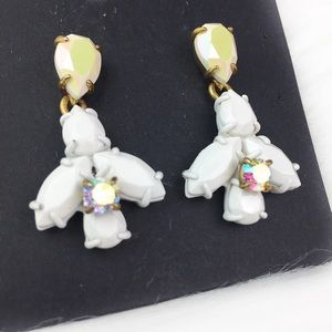 J. Crew White Crystal Drop Earrings Dangle